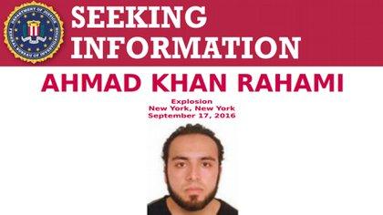 La orden de captura de Rahami que emitió el FBI