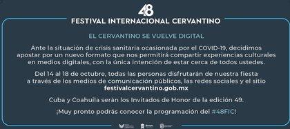 La 48va entrega del Festival Internacional Cervantino se adaptó a las nuevas tecnologías y pasará sus contenidos por canales de televisión y por internet en Youtube (Captura de Pantalla: Twitter @culturamx)