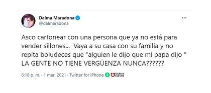 El mensaje de Dalma Maradona en Twitter