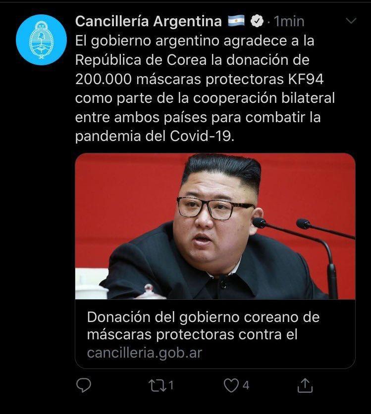twitter Cancilleria Argentina - Agradece a corea - mascaras protectoras