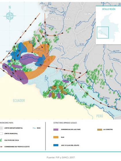 Mapa sobre los grupos ilegales que hacen presencia en la frontera de Colombia y Ecuador. (Fuente: Fundación Ideas para la Paz)
