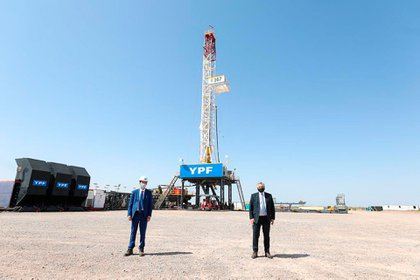 Alberto Fernández en Vaca Muerta cuando lanzó un plan de subsidio a la producción de gas