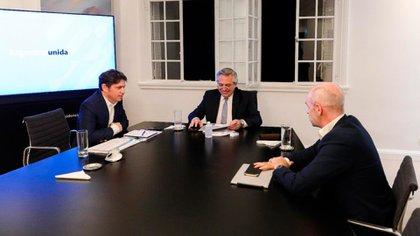 Alberto Fernández, Axel Kicillof y Horacio Rodríguez Larreta en la quinta presidencial de Olivos
