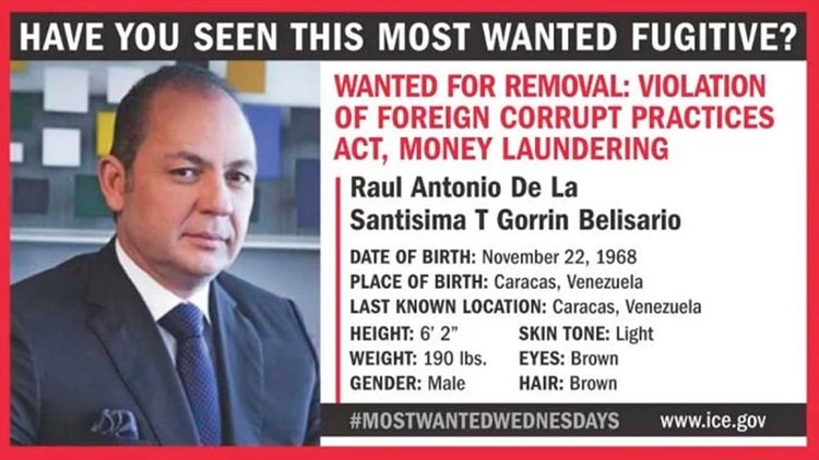 Gorrín está incluido en EEUU en la lista de los más buscados por delitos de corrupción y blanqueo de capitales