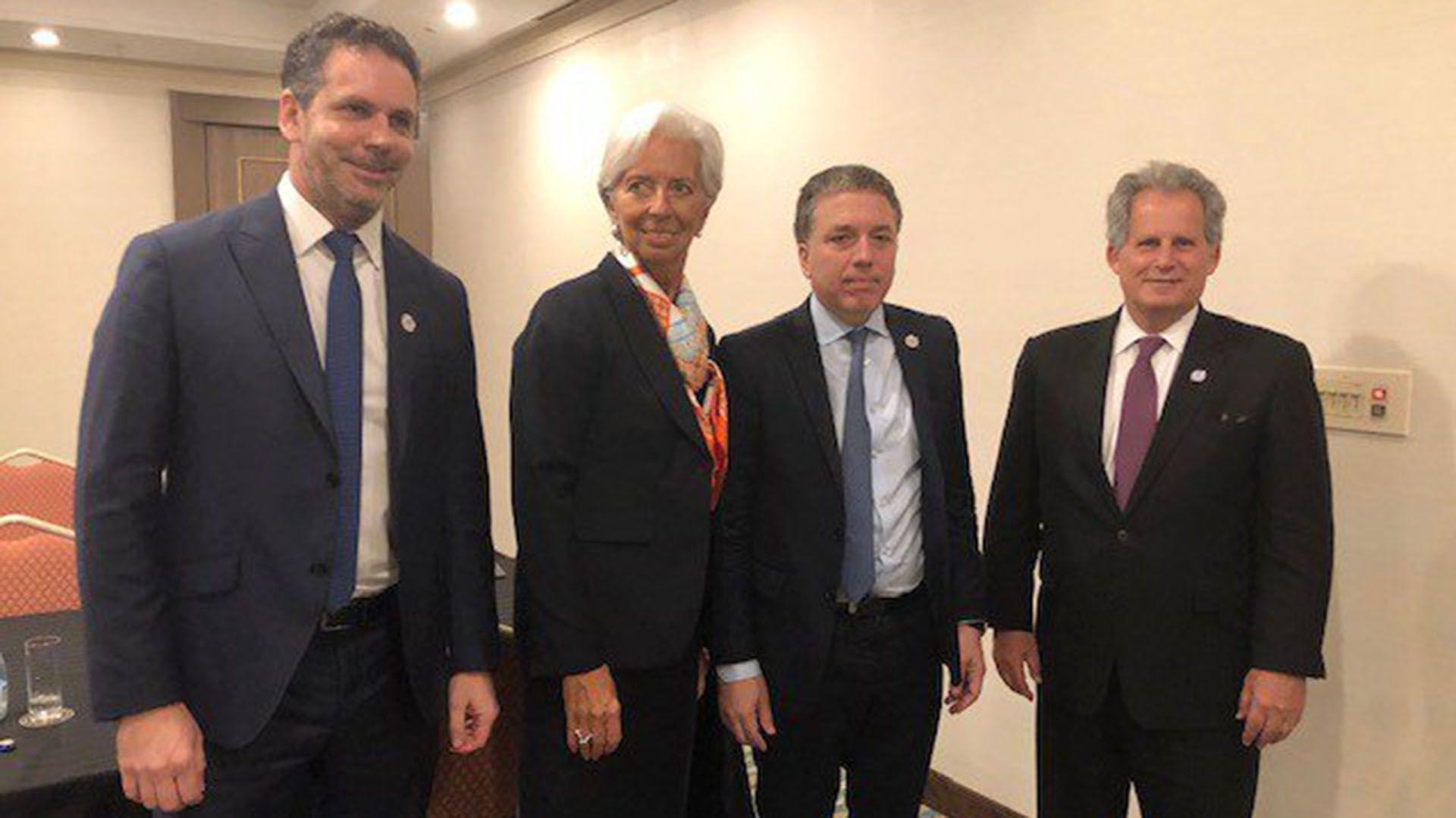Sandleris, Lagarde, Dujovne y Lipton, la semana pasada, en la reunión de ministros de Finanzas del G20 de Japón