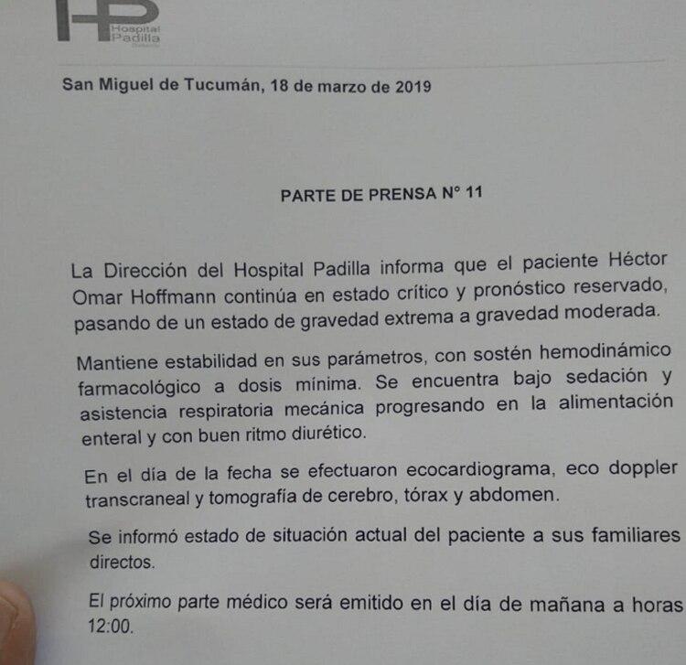 El parte médico que difundió el Hospital Ángel C. Padilla este lunes