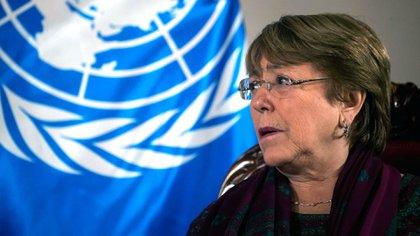 La alta comisionada de Naciones Unidas para los derechos humanos, Michelle Bachelet, en su visita a Venezuela a comienzo de julio