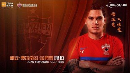 Así presentaron al colombiano en el FC Shenzhen (Foto: Shenzhen)