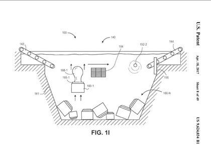 Así sería el almacén submarino según el gráfico presentado a la Oficina de Patentes y Marcas de EE.UU