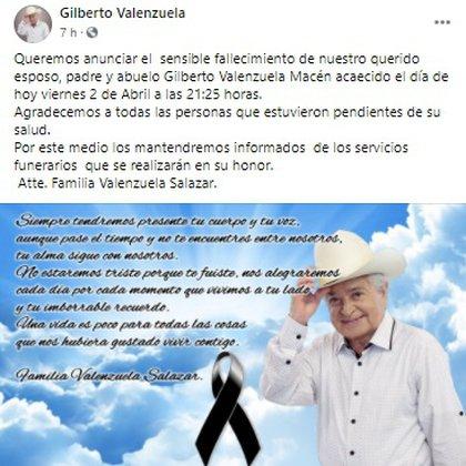 (Foto: Gilberto Valenzuela / Facebook)
