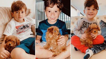 Thiago, Mateo y Ciro, con el nuevo integrante de la familia Messi: Abú