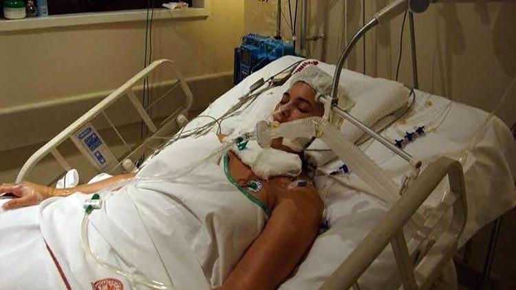 Verónica Perdomo en el Hospital Alemán, luego de la operación