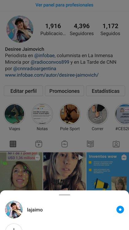Instagram permite administrar diferentes perfiles