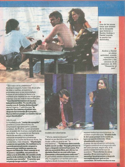 Daniel Mendoza y Andrea Frigerio en la revista Ahora (Gentileza Archivo Tea y Deportea)