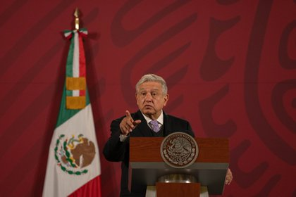 Andres Manuel Lopez Obrador, Mexico's president, speaks during a news conference at the National Palace in Mexico City, Mexico, on Wednesday, Nov. 25, 2020. Lopez Obrador reiterated Wednesday that he'll wait until the U.S. presidential election process is fully concluded before he congratulates a winner.