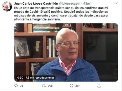 Con este mensaje el alcalde de Popayán comunicó que había dado positivo para coronavirus.