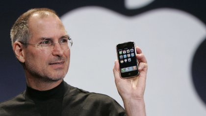 January 2007.  Steve Jobs during the presentation of the legendary iPhone at MacWorld in San Francisco.