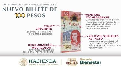 Revelaron medidas de seguridad para reconocer los auténticos billetes.  Foto: @bbienestarmx
