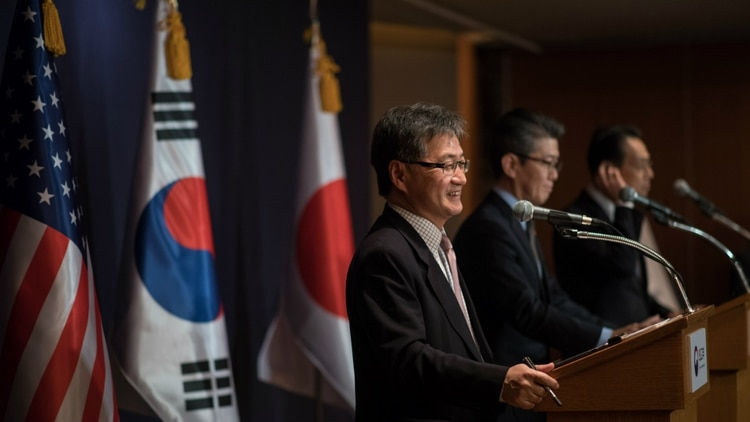 Una reunión entre ministros de Japón y Corea en Estados Unidos (AFP)