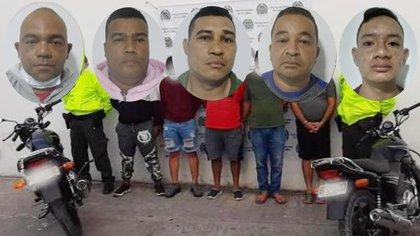 Capturan a la banda 'Los Krans' dedicados al robo de motos en Sucre y Córdoba.  Foto: Policía Nacional.