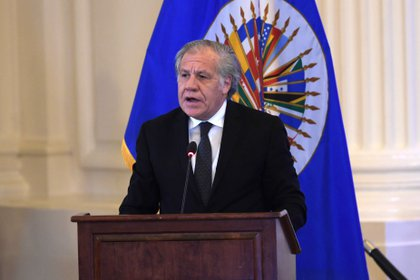 El secretario general de la OEA, Luis Almagro, durante la asamblea que condenó a los regímenes autoritarios de Venezuela y Nicaragua
