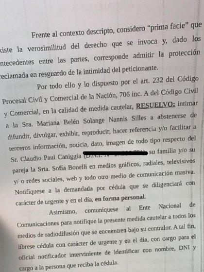 La resolución del juez ante el el pedido de bozal legal de Claudio Paul Caniggia a Mariana Nannis