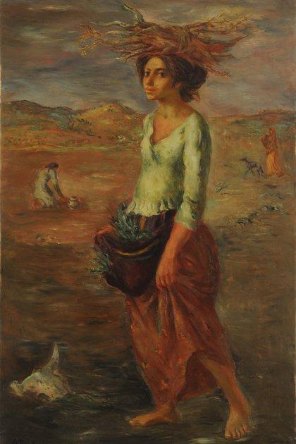 """""""La mujer del páramo"""" (1944), de Juan Carlos Castagnino. Oleo sobre lienzo (125 x 78,5 cm), en el Museo Nacional de Bellas Artes"""