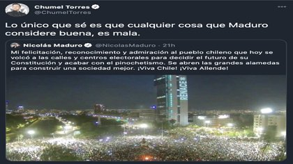 Chumel Torres opinó sobre la consulta de Chile a través de un tweet de Nicolás Maduro (Foto: Twitter@ChumelTorres)