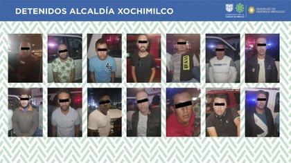 Los 13 detenidos pertenecerían a una célula vinculada con el Cártel de Tláhuac (Foto: SSC)