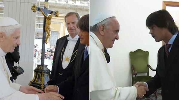 Llegada vaticana: Blaksley junto al papa Benedicto XVI yaJorge Bergoglio.