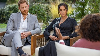 Britain's Prince Harry and Meghan, Duchess of Sussex, are interviewed by Oprah Winfrey in this undated handout photo.  Harpo Productions/Joe Pugliese/Handout via REUTERS    THIS IMAGE HAS BEEN SUPPLIED BY A THIRD PARTY. NO RESALES. NO ARCHIVES