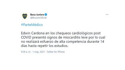 El parte médico del Colombiano Edwin Cardona
