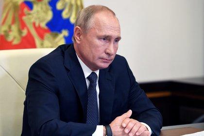 El presidente ruso Putin durante la reunión virtual con su gabinete (Sputnik/Aleksey Nikolskyi/Kremlin via REUTERS)