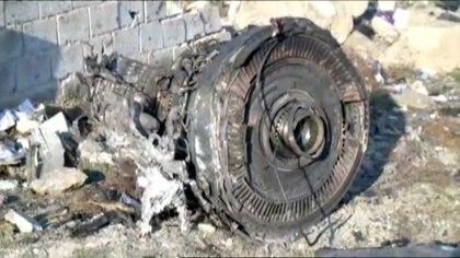 Una de las turbinas del avión (Prensa iraní vía Reuters)
