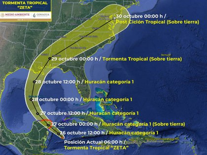Updated trajectory of the tropical storm Zeta (Photo: SMN / Conagua Clima)