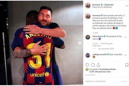 El posteo de Lionel Messi tras el debut de Fati
