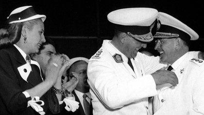 Perón, Evita y Domingo Mercante (Archivo Histórico de la Provincia de Buenos Aires)