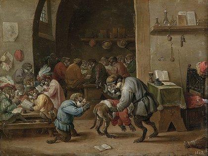 """""""Monos en la escuela"""" (1660), de David Teniers el Joven, en el Museo del Prado, Madrid"""