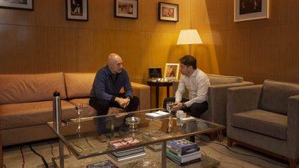 Horacio Rodríguez Larreta y Axel Kicillof se reunieron este miércoles en la sede del gobierno porteño (@Kicillofok)