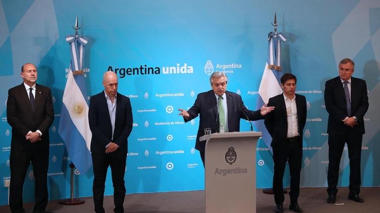 Schiaretti, Rodríguez Larreta, Fernández, Kicillof y Morales (Presidencia)