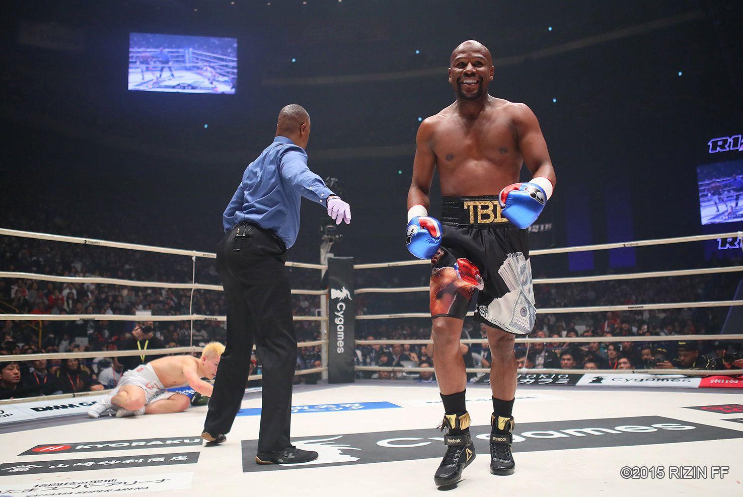 El último combate de Floyd Mayweather ante Tenshin Nasukawa en Tokio. Foto: RIZIN FF