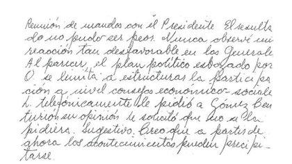 Párrafo del documento entregado a Onganía el 28 de abril de 1970