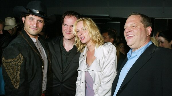 Robert Rodriguez , Quentin Tarantino, Uma Thurman y Harvey Weinstein / AFP PHOTO / GETTY IMAGES NORTH AMERICA / Kevin Winter