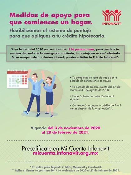 Una de las medidas anunciadas por el INFONAVIT para el Buen Fin es la flexibilidad en el sistema de puntos (Foto: Twitter@Infonavit)