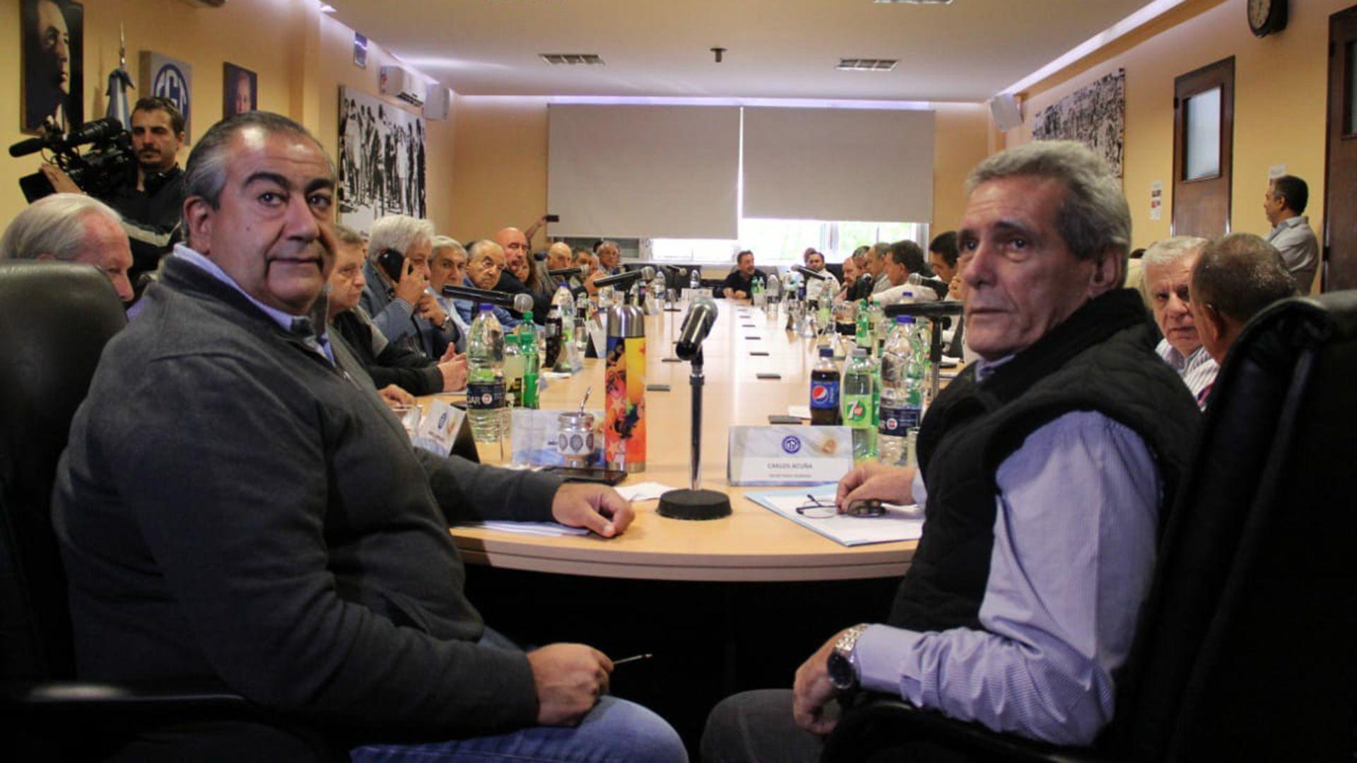 Héctor Daer y Carlos Acuña, los cotitulares de la CGT