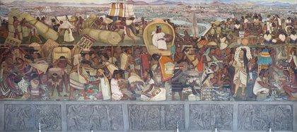 La Gran Ciudad de Tenochtitlan, mural de Diego Rivera Foto: Wiki Commons