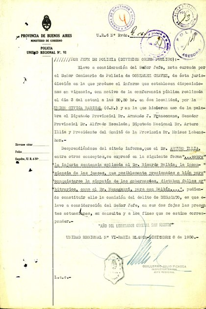 Las palabras de Arturo Illia, objeto de un informe policial