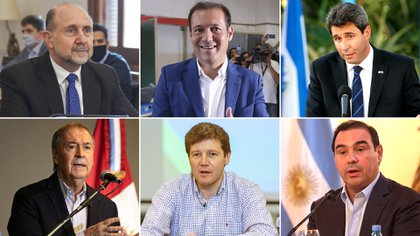 Los gobernadores Omar Perotti, Omar Gutiérrez, Sergio Uñac, Juan Schiaretti, Gustavo Melella y Gustavo Valdés