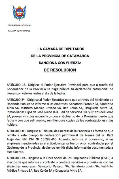 Pedido de informes del diputado catamarqueño Hugo Ávila