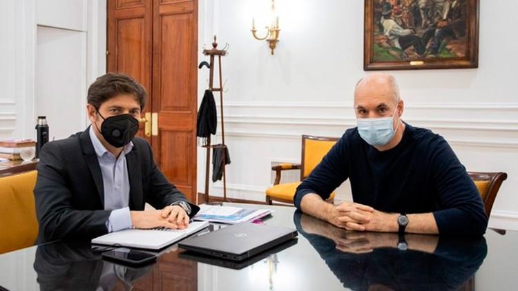 Reunión entre el gobernador bonaerese, Axel Kicillof, y el jefe de Gobierno porteño, Horacio Rodríguez Larreta.